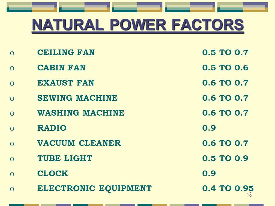 NATURAL POWER FACTORS CEILING FAN 0.5 TO 0.7 CABIN FAN 0.5 TO 0.6