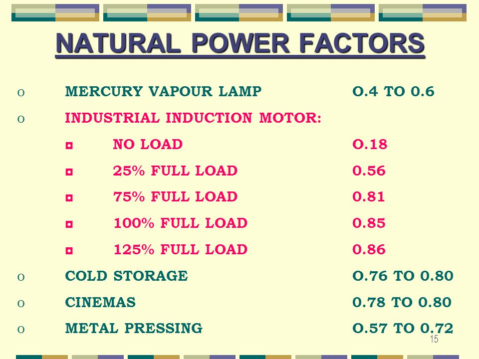 NATURAL POWER FACTORS MERCURY VAPOUR LAMP O.4 TO 0.6
