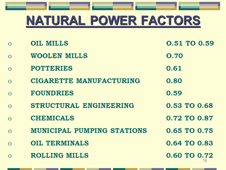 NATURAL POWER FACTORS OIL MILLS O.51 TO 0.59 WOOLEN MILLS O.70