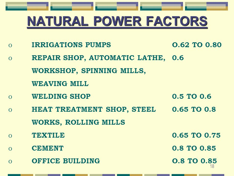 NATURAL POWER FACTORS IRRIGATIONS PUMPS O.62 TO 0.80