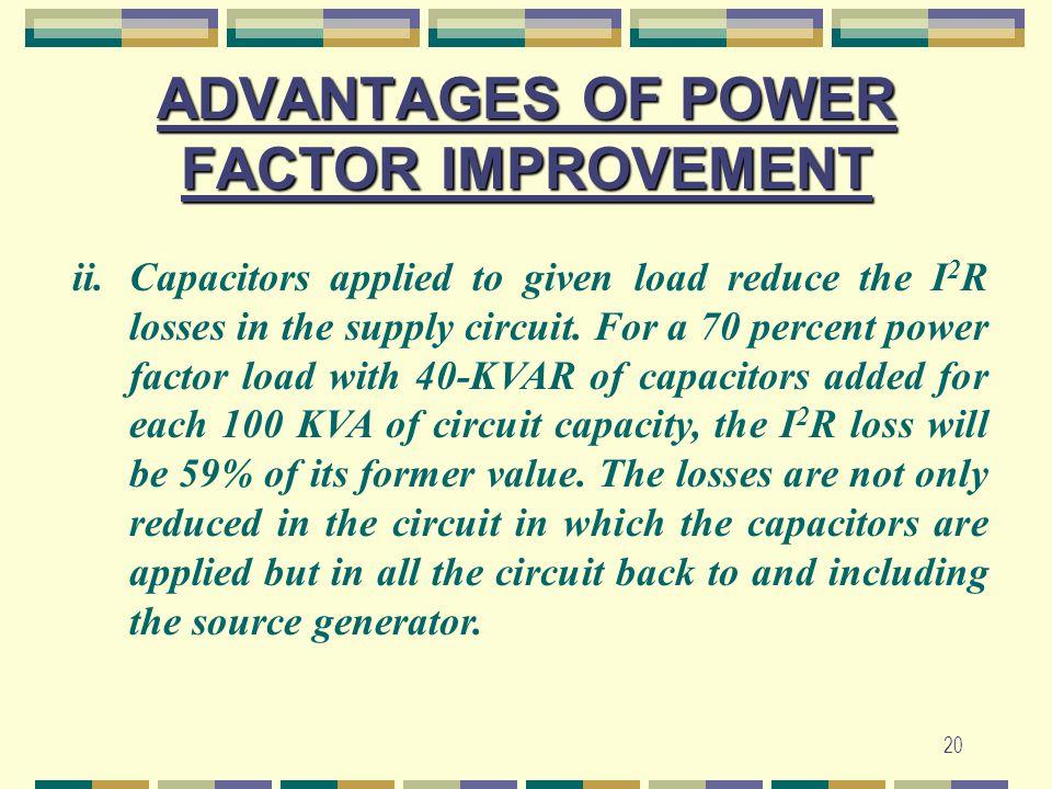 ADVANTAGES OF POWER FACTOR IMPROVEMENT