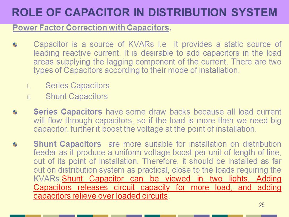 ROLE OF CAPACITOR IN DISTRIBUTION SYSTEM