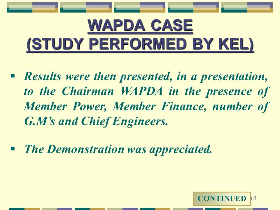 WAPDA CASE (STUDY PERFORMED BY KEL)