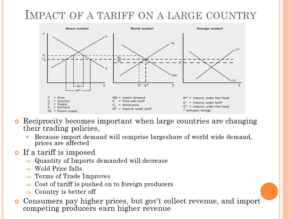 Impact of a tariff on a large country