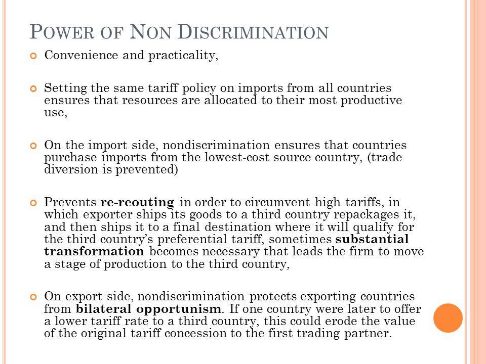 Power of Non Discrimination