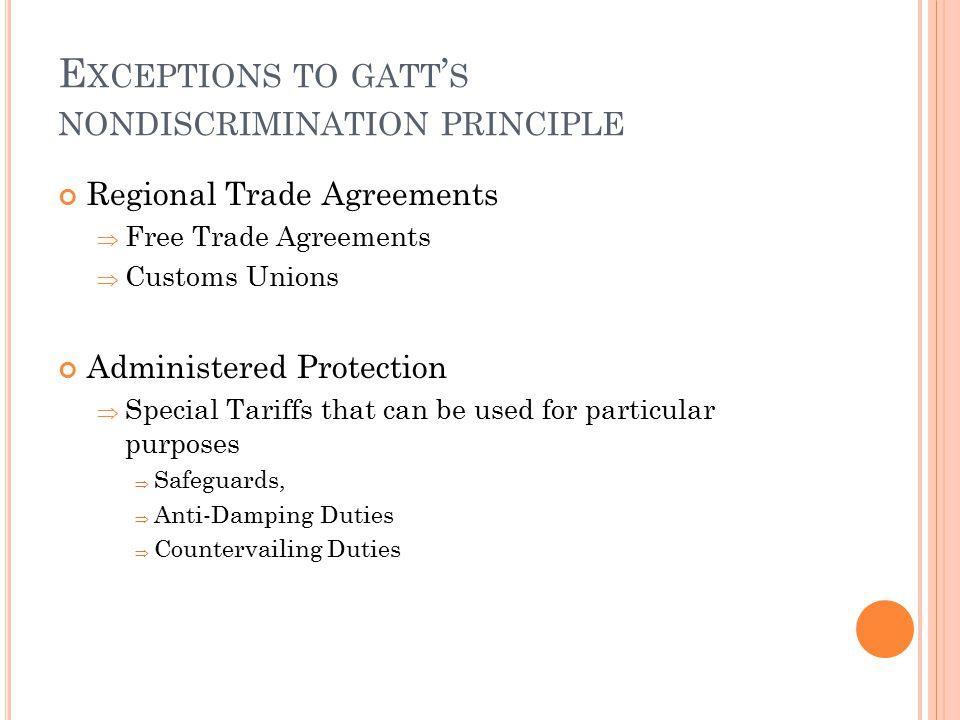 Exceptions to gatt's nondiscrimination principle
