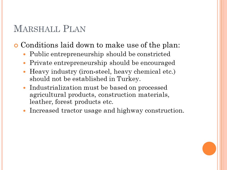 Marshall Plan Conditions laid down to make use of the plan: