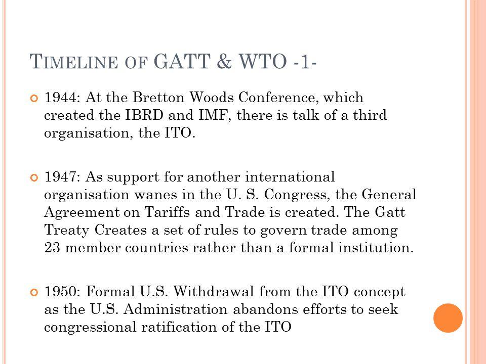 Timeline of GATT & WTO -1-