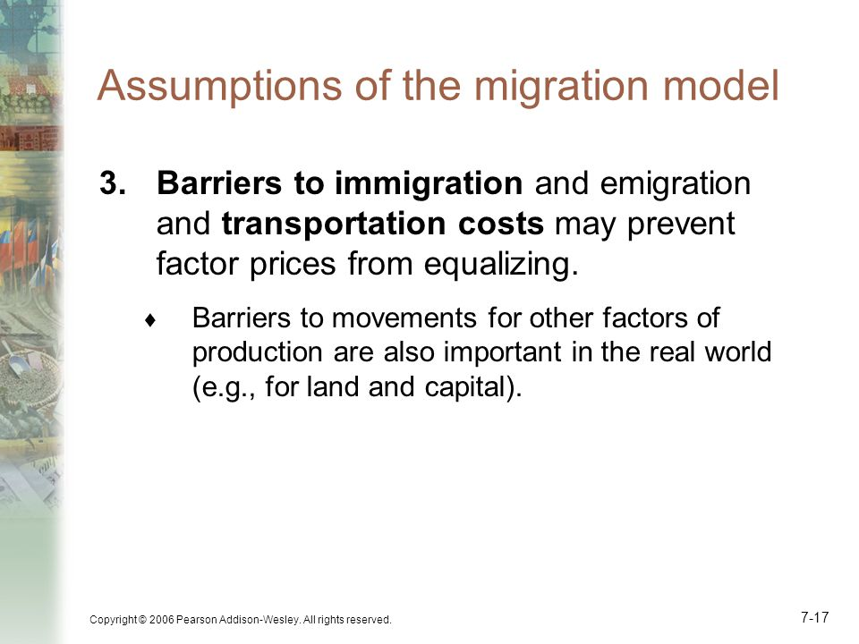 Assumptions of the migration model