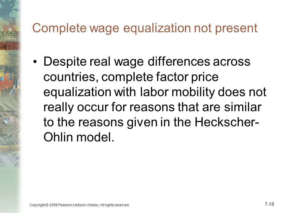 Complete wage equalization not present