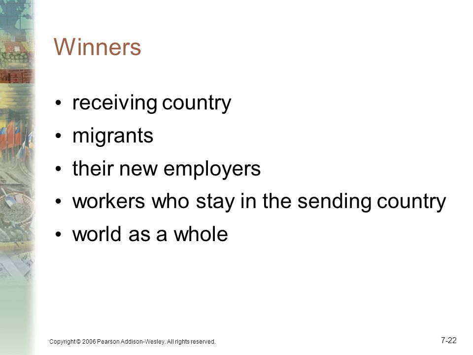Winners receiving country migrants their new employers