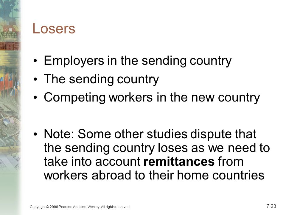 Losers Employers in the sending country The sending country
