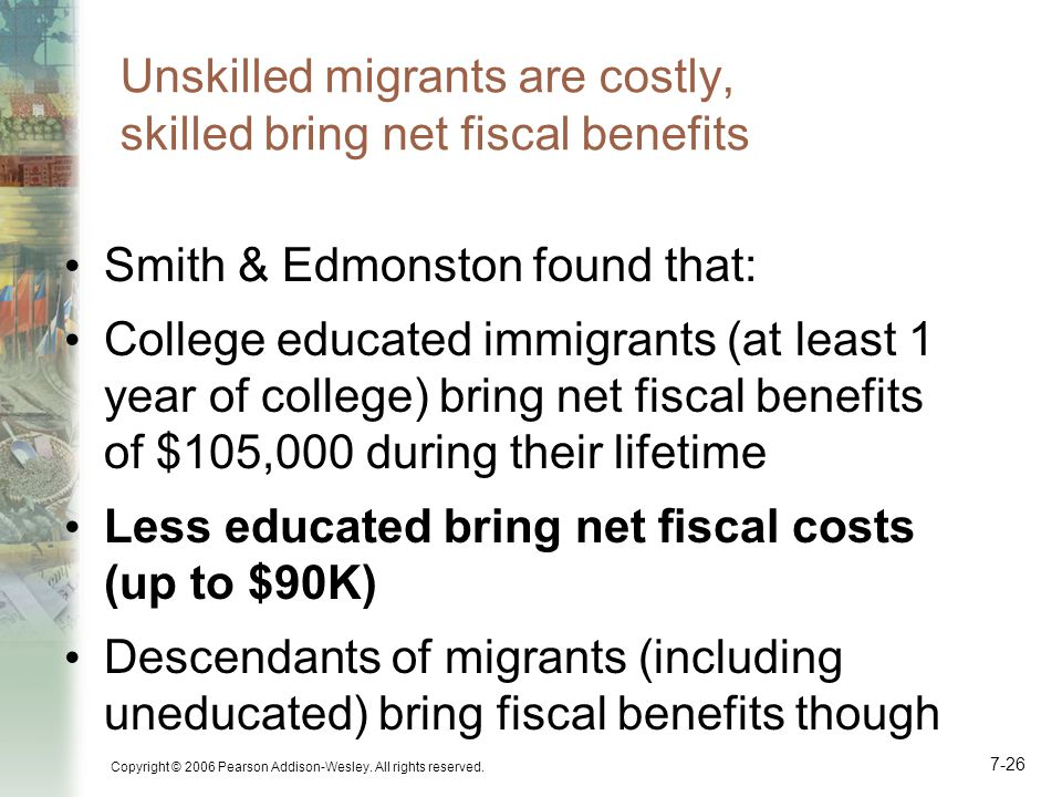 Unskilled migrants are costly, skilled bring net fiscal benefits