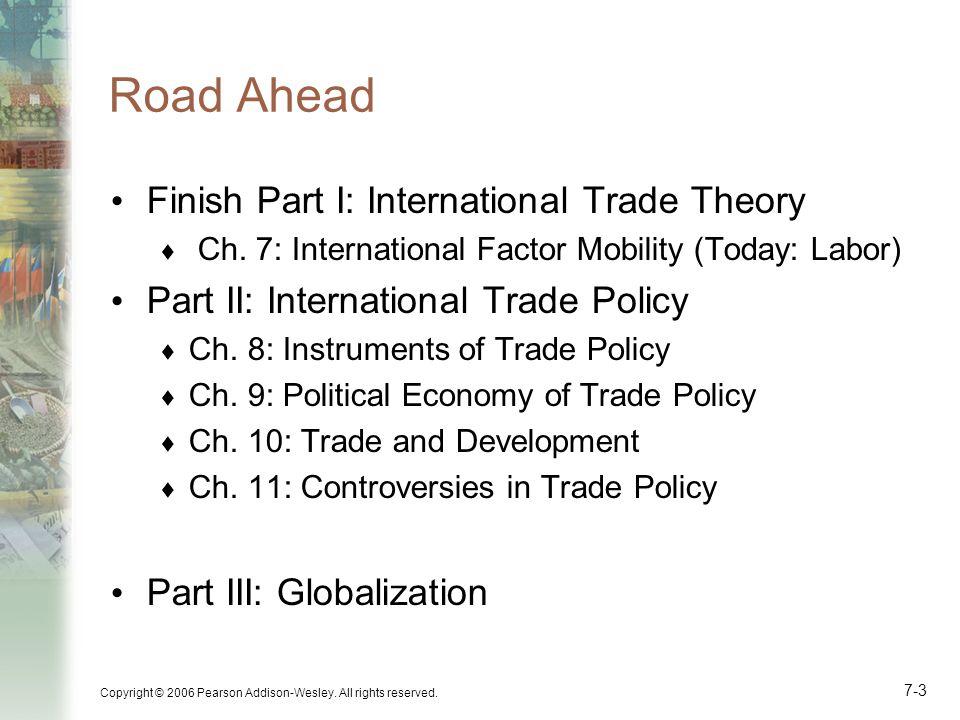 Road Ahead Finish Part I: International Trade Theory