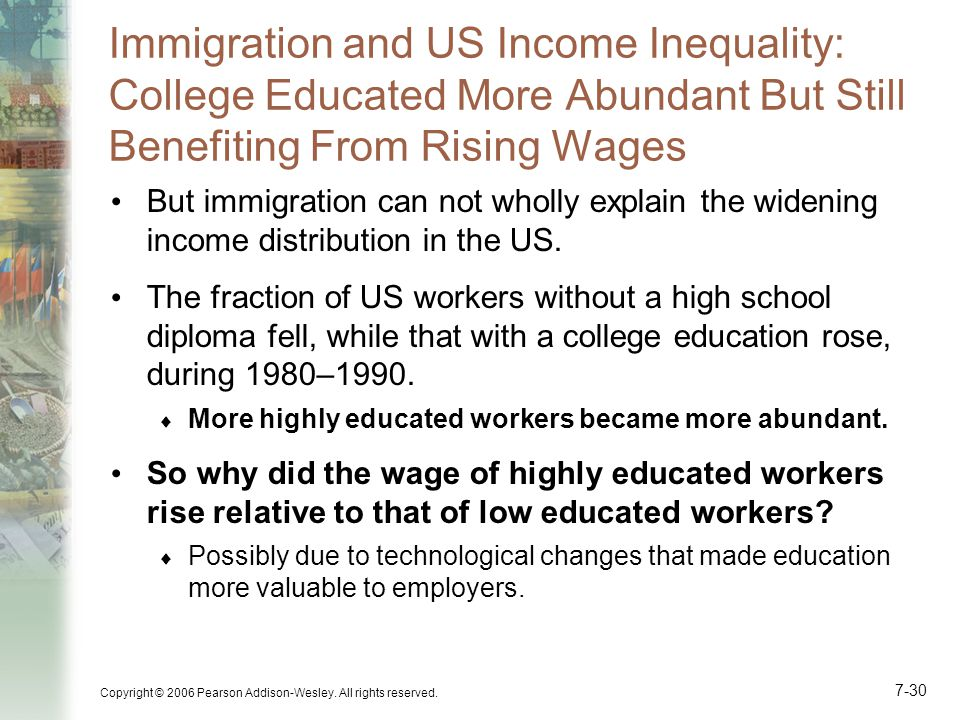 Immigration and US Income Inequality: College Educated More Abundant But Still Benefiting From Rising Wages