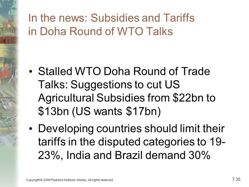 In the news: Subsidies and Tariffs in Doha Round of WTO Talks