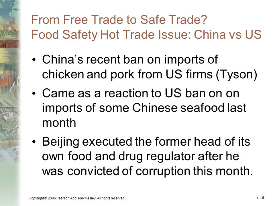 From Free Trade to Safe Trade Food Safety Hot Trade Issue: China vs US