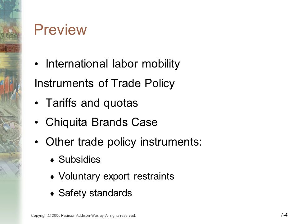 Preview International labor mobility Instruments of Trade Policy