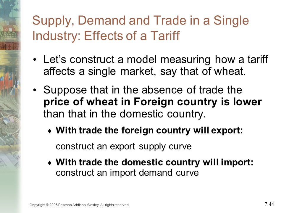Supply, Demand and Trade in a Single Industry: Effects of a Tariff
