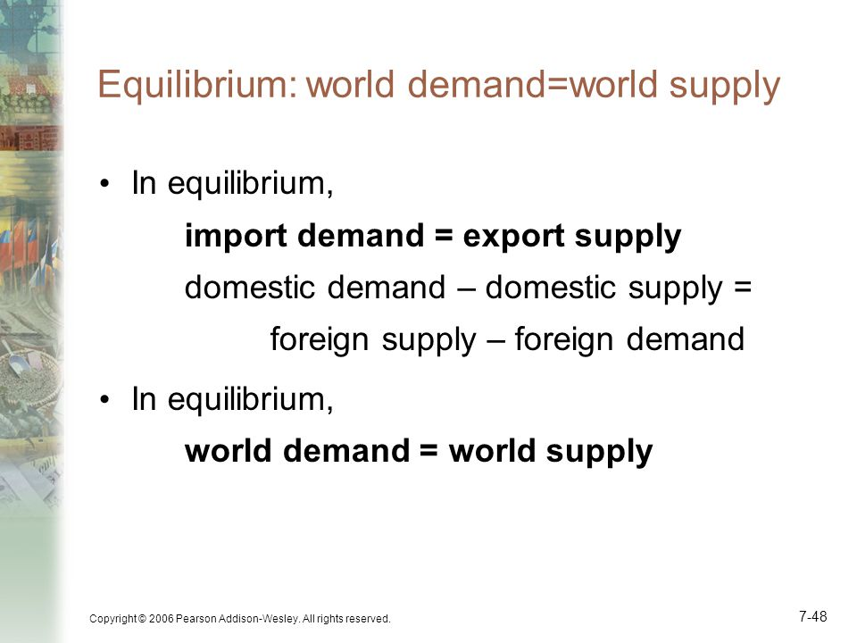 Equilibrium: world demand=world supply