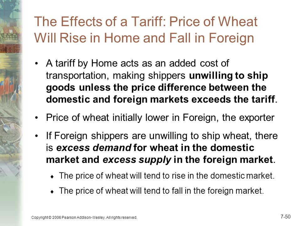 The Effects of a Tariff: Price of Wheat Will Rise in Home and Fall in Foreign
