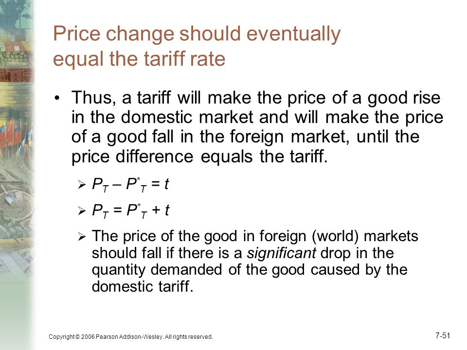 Price change should eventually equal the tariff rate