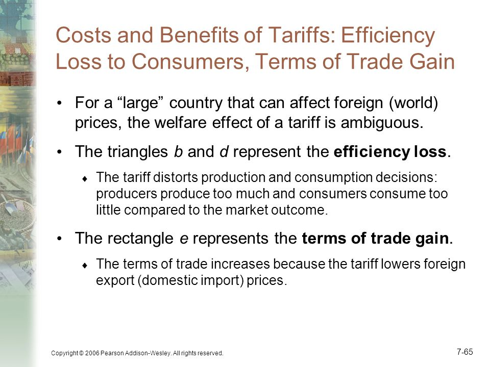 Costs and Benefits of Tariffs: Efficiency Loss to Consumers, Terms of Trade Gain