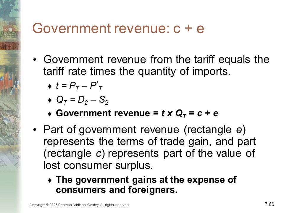 Government revenue: c + e