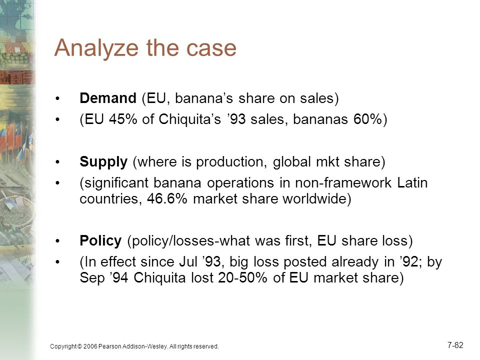 Analyze the case Demand (EU, banana's share on sales)