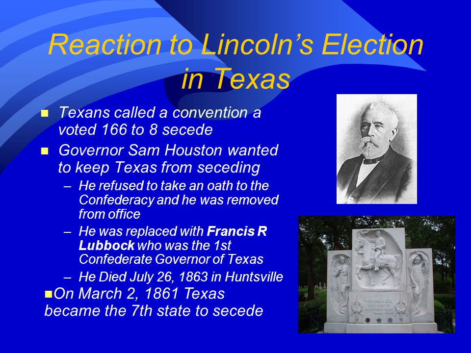 Reaction to Lincoln's Election in Texas