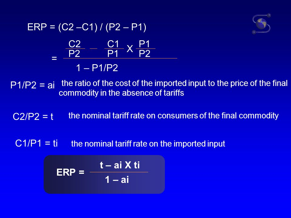 the nominal tariff rate on the imported input