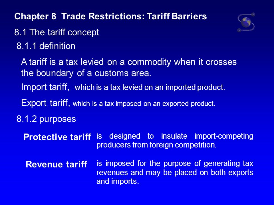 Chapter 8 Trade Restrictions: Tariff Barriers