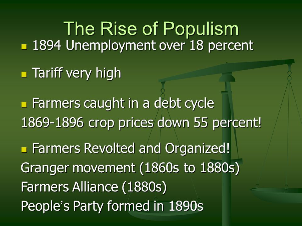 The Rise of Populism 1894 Unemployment over 18 percent