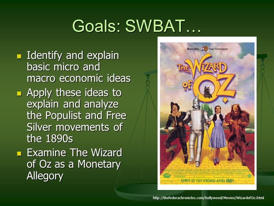 Goals: SWBAT… Identify and explain basic micro and macro economic ideas.