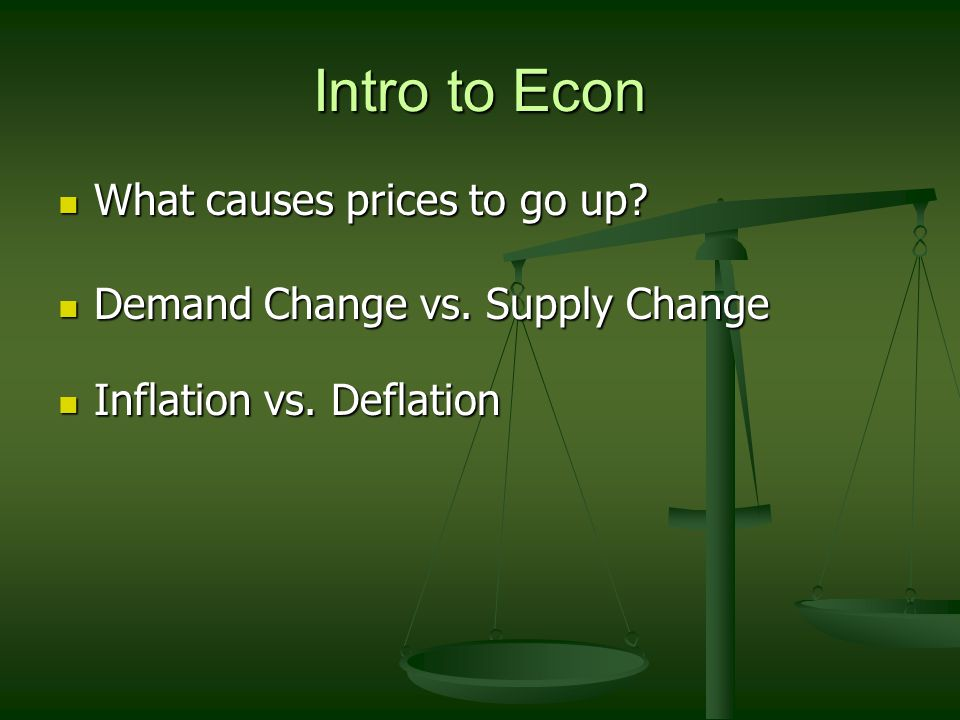 Intro to Econ What causes prices to go up