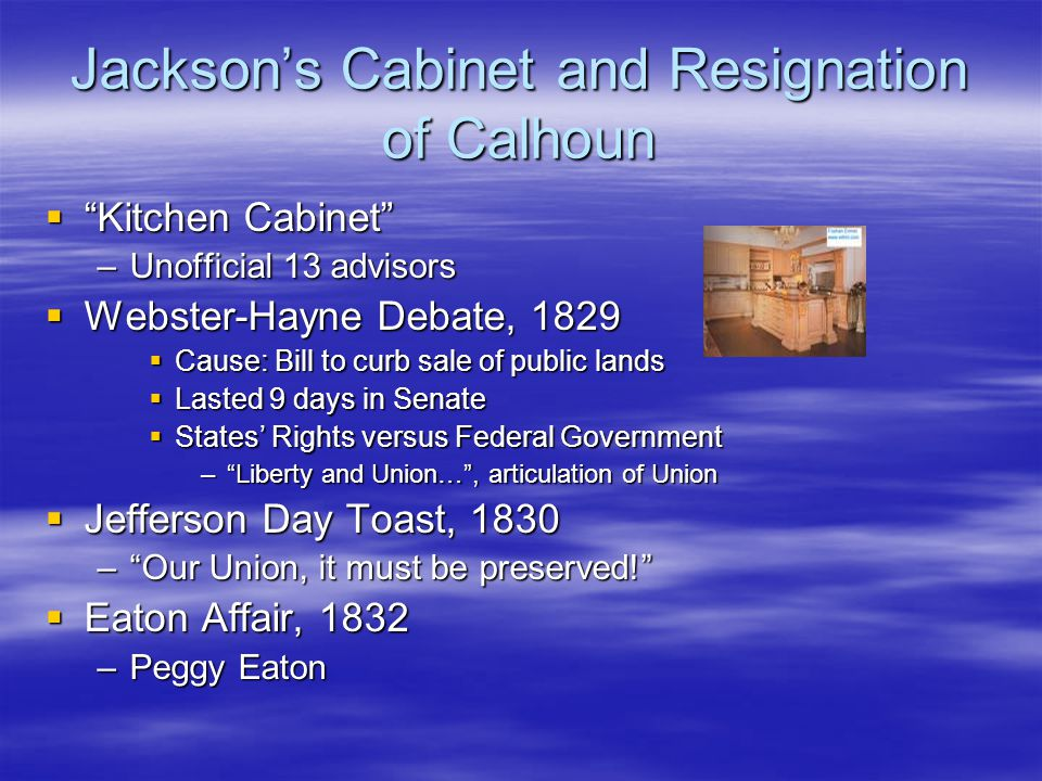 Jackson's Cabinet and Resignation of Calhoun