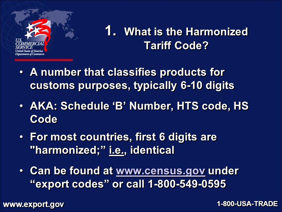 1. What is the Harmonized Tariff Code