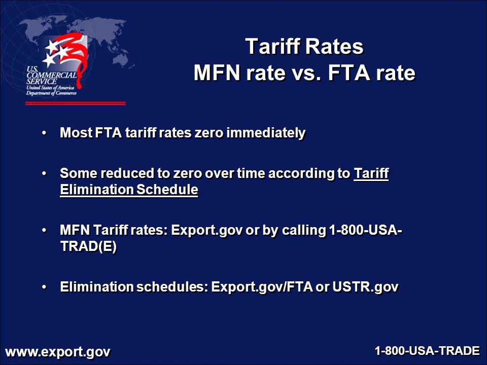 Tariff Rates MFN rate vs. FTA rate