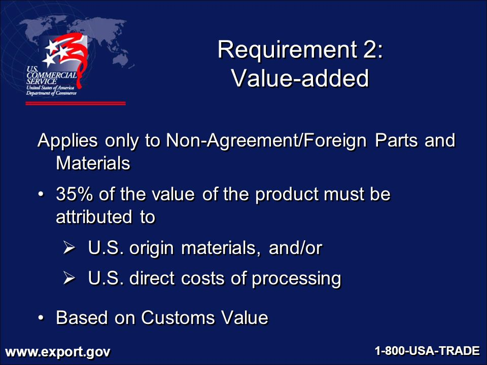 Requirement 2: Value-added