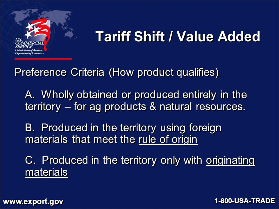 Cashing in with free trade agreements ppt video online download 46 tariff shift value added preference criteria yadclub Images
