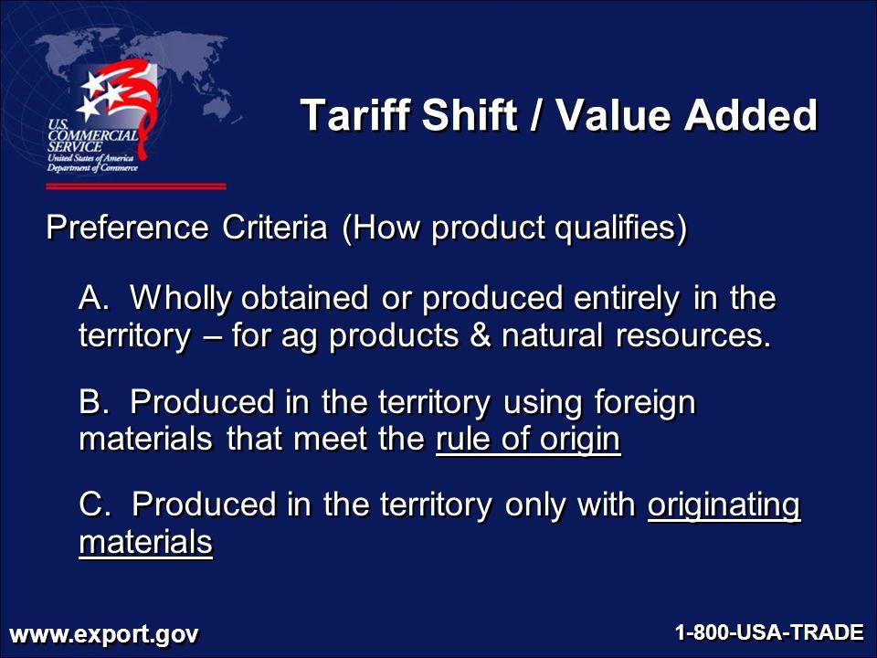 Tariff Shift / Value Added