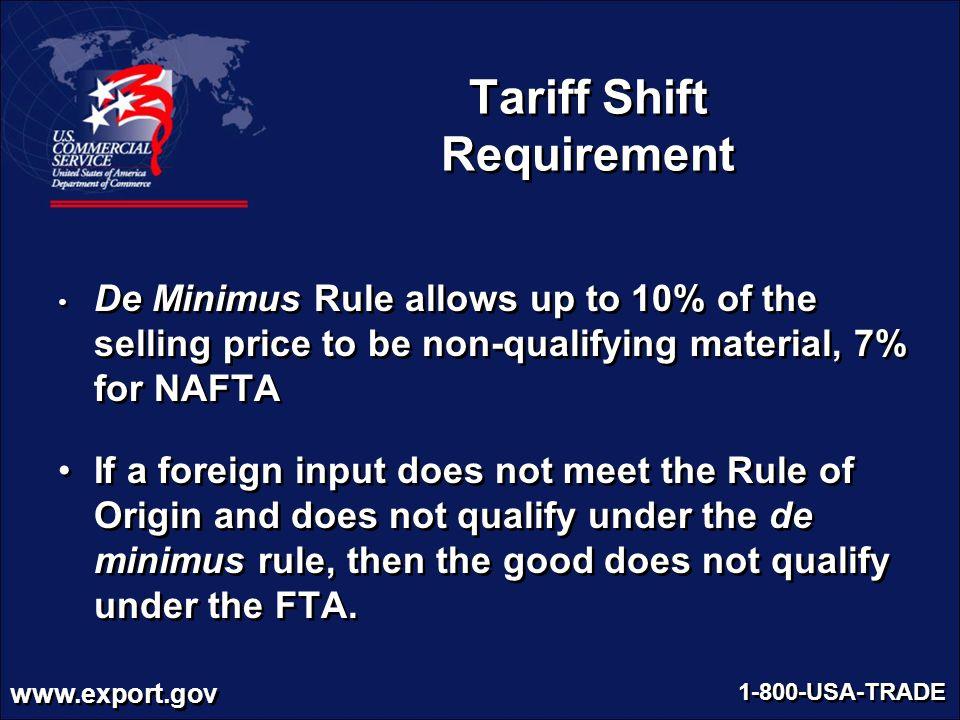 Tariff Shift Requirement