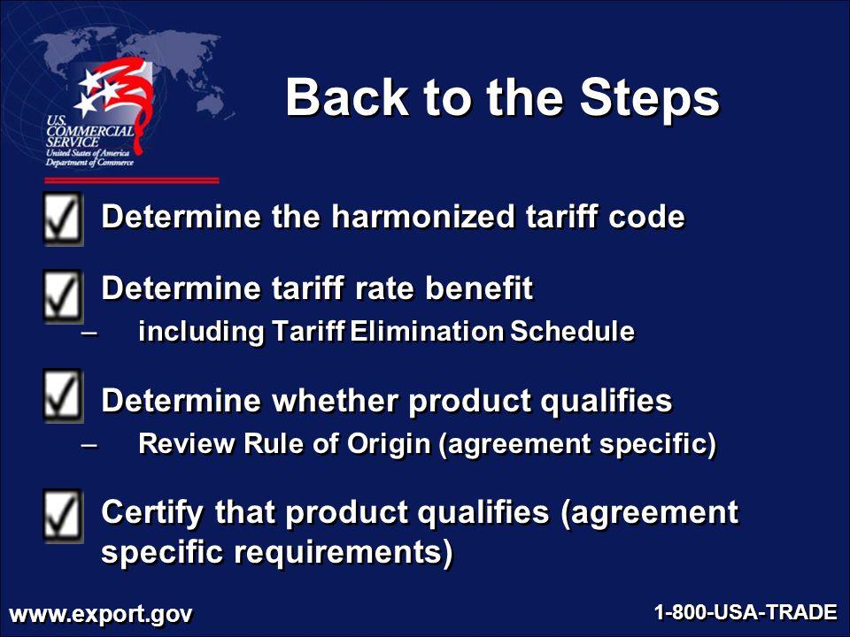 Back to the Steps Determine the harmonized tariff code
