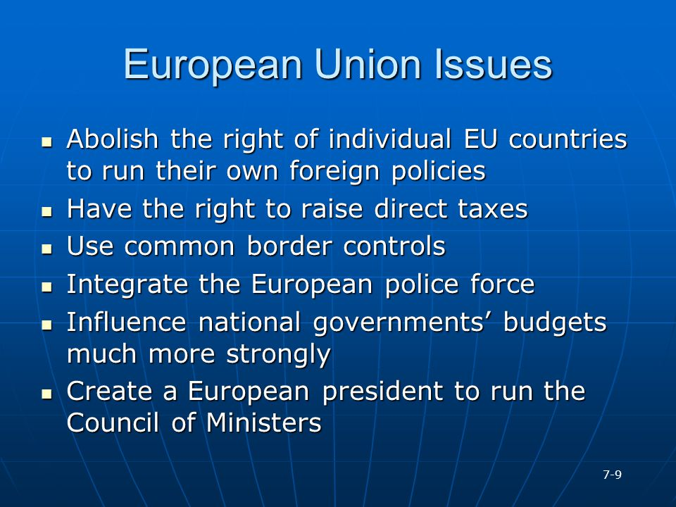 European Union Issues Abolish the right of individual EU countries to run their own foreign policies.