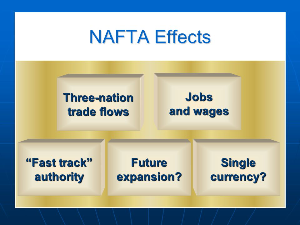NAFTA Effects Three-nation trade flows Jobs and wages Fast track