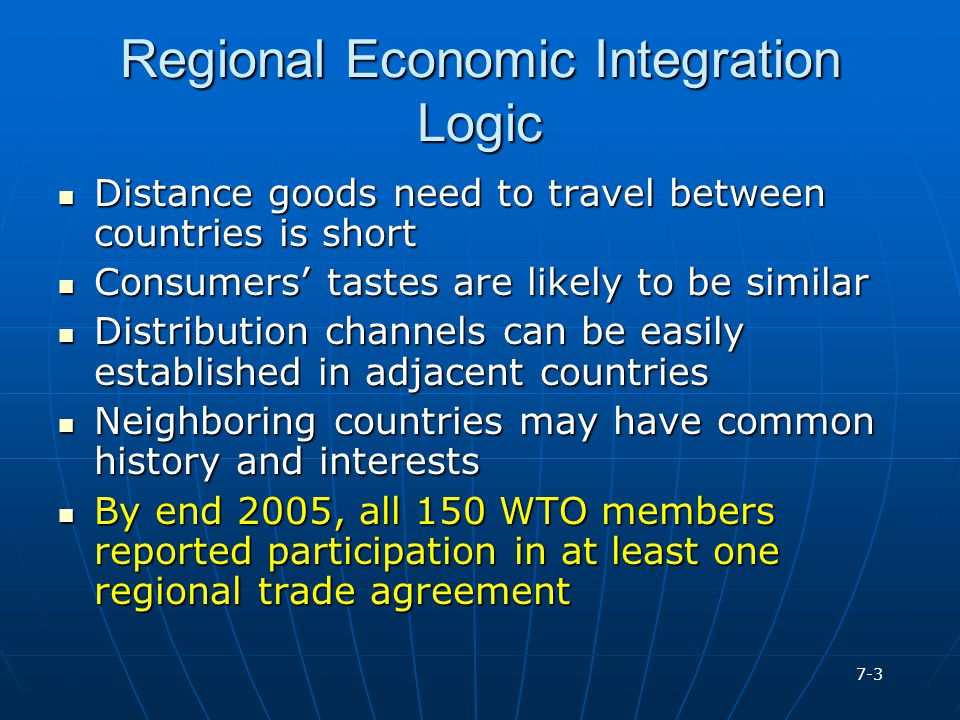 Regional Economic Integration Logic
