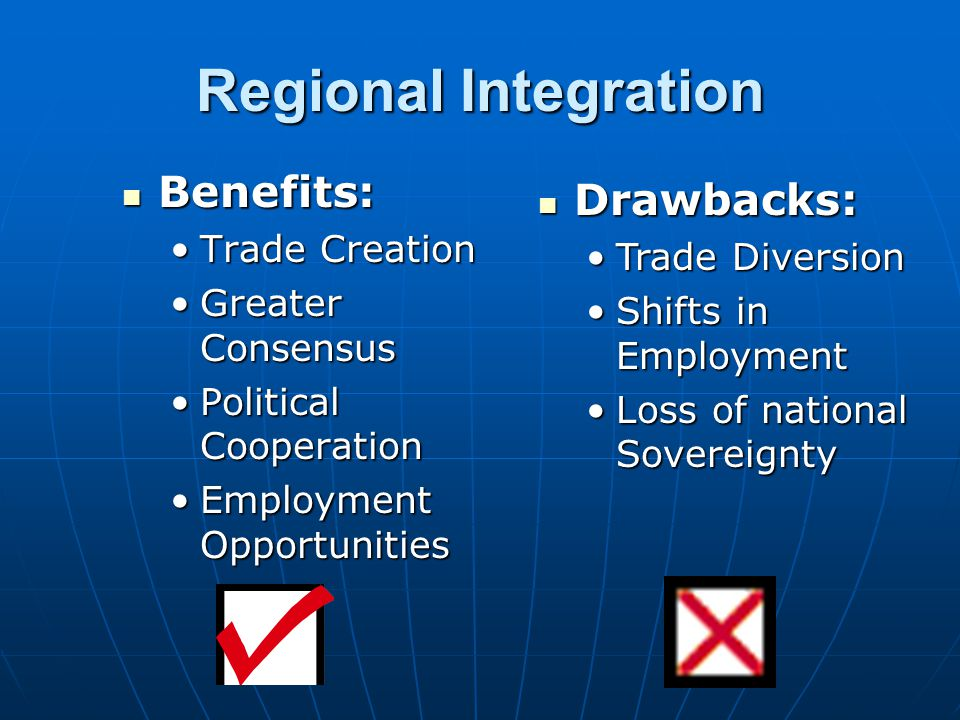 Regional Integration Benefits: Drawbacks: Trade Creation