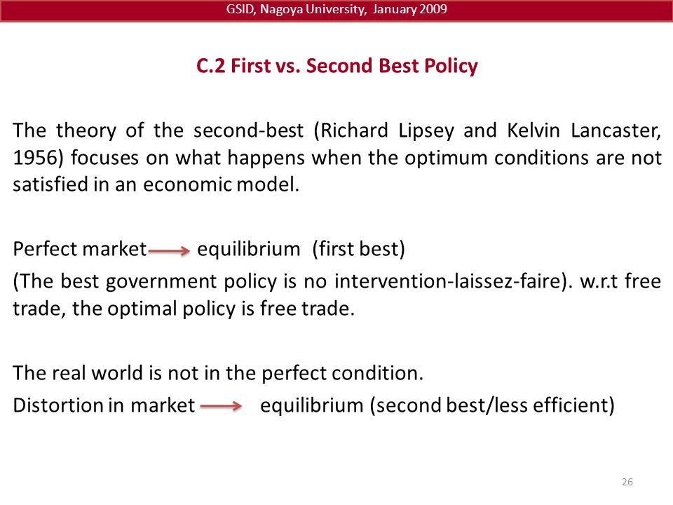 C.2 First vs. Second Best Policy