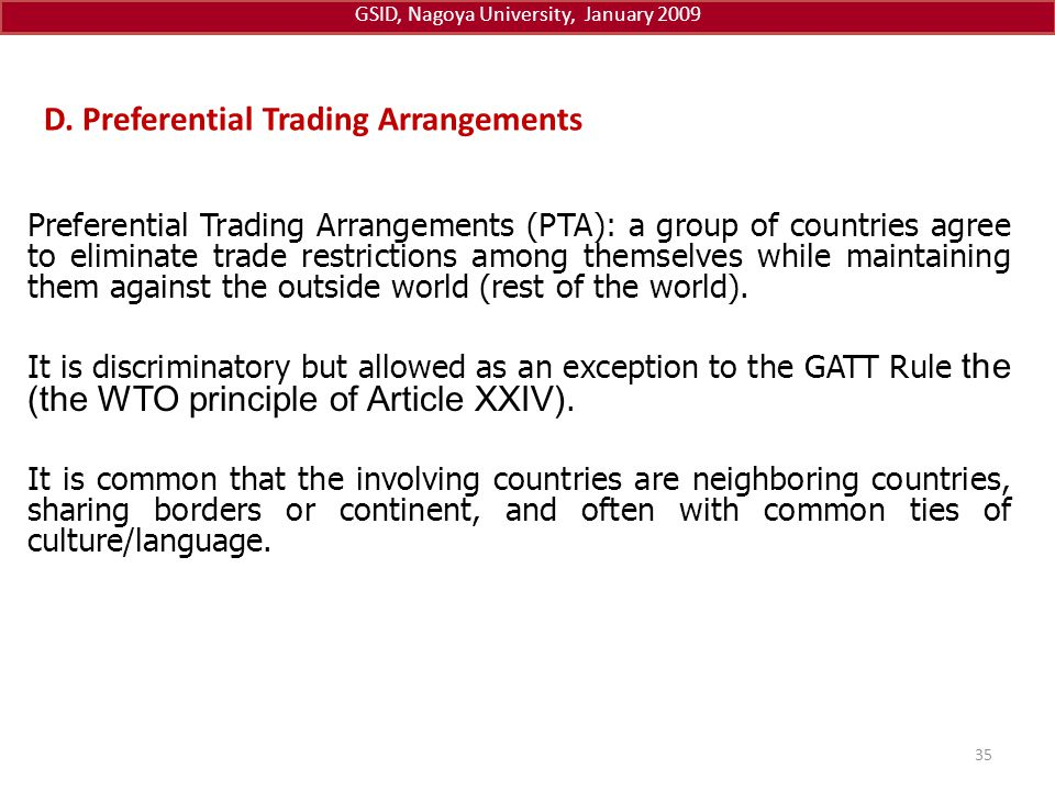 D. Preferential Trading Arrangements