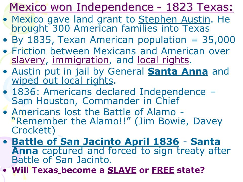 Mexico won Independence - 1823 Texas: